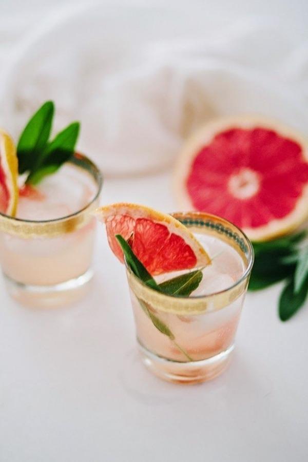 Champagne, Grapefruit + Sage Cocktail