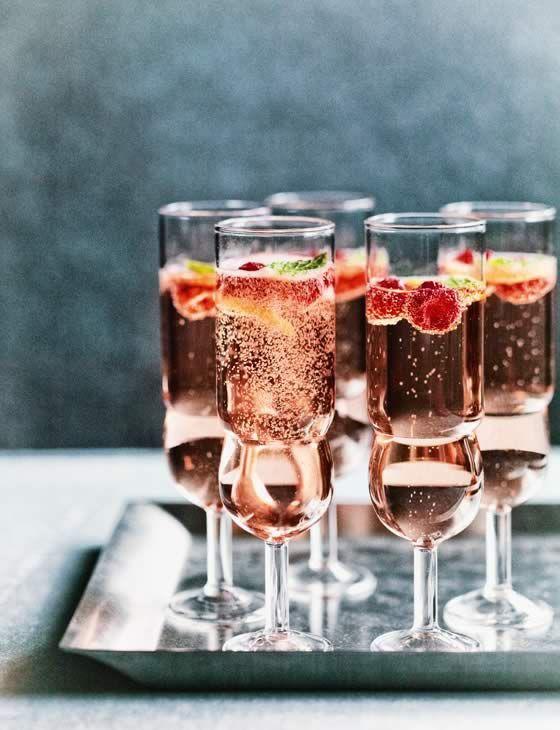 rosé, raspberry and mint fizz.