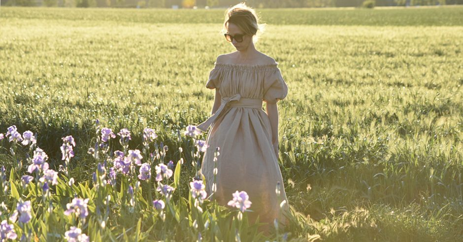 iris fields travel provence linen dress